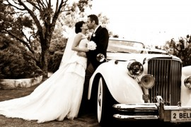 black and white wedding car photo